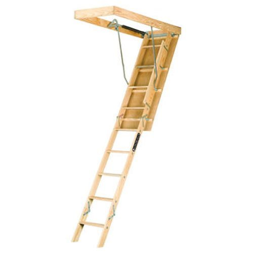 Louisville Ladder 25.5-by-54-Inch Wooden Attic Ladder, Fits 8-Foot 9-Inch to 10-Foot Ceiling Height, 250-Pound Capacity, L254P