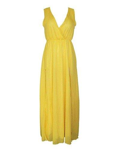 PU&PU Robe Aux femmes Swing Sexy , Couleur Pleine Surplis Maxi Polyester / Spandex , yellow-l , yellow-l