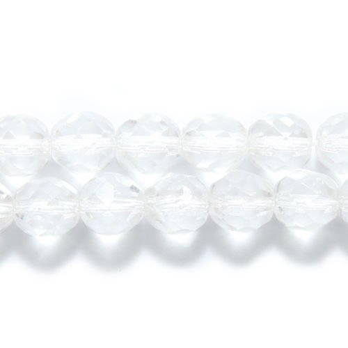 Preciosa Czech Fire 8mm Polished Glass Bead, Faceted Round, Crystal, 150-Pack -