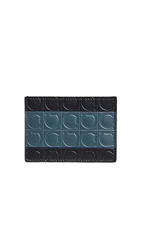 Salvatore Ferragamo Men's Firenze Gamm Card Case, Black/Blue, One Size - Firenze Card Case