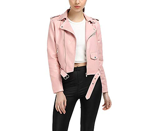 Women Pink Punk China Slim Leather Coat PU Faux Jacket Soft Leather Jacket Jacket Biker Pink Fashion Motorcycle XL EwpHZq