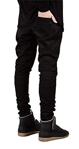 Distrutti Vestibilità Pantaloni Slim Jeans Motociclista Classiche Vintage Casual Nero Uomo Da Ragazzi Anch'essi Fit xqxEHYZ0