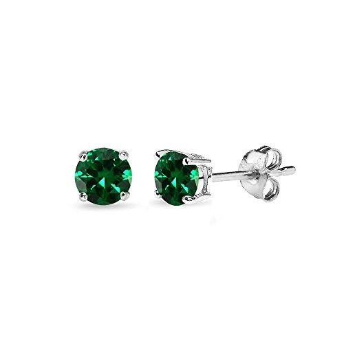 4mm Emerald Stud Earrings - Sterling Silver Simulated Emerald 4mm Round-Cut Solitaire Stud Earrings
