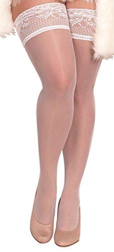 Unbekannt Ballerina Halterlose Damen-Strümpfe, weiß, Stockings große Größen XL XXL Hochzeit