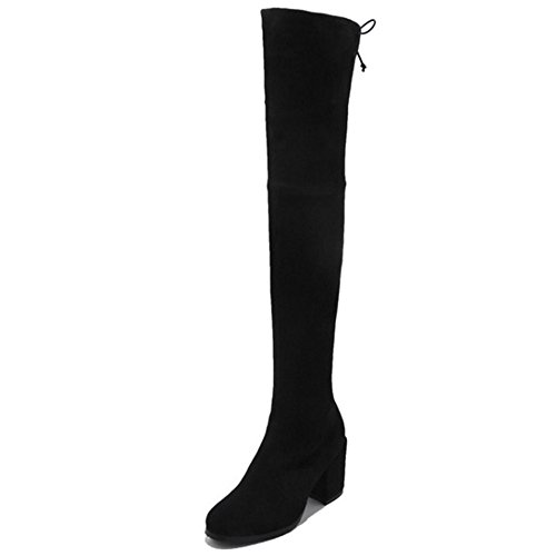 Nine Seven Suede Leather Womens Round Toe Chunky Heel Slip On Handmade Classy Over The Knee Boots Black QIr1rre7