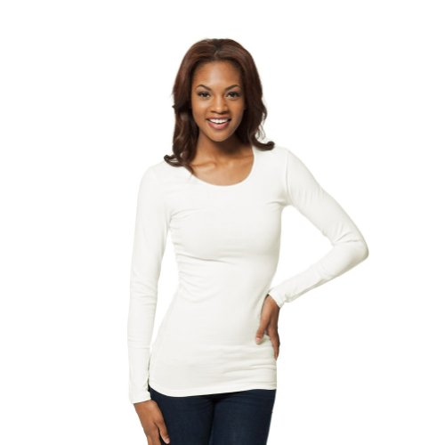 Modest Layering Long Sleeve Shirt - Extra Length (X-Large, White) (Cotton Extra Long T-shirt)