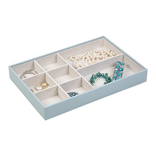 Richards Homewares Organizer Trays, Display and Storage, Holder for Earrings, Bracelets, Necklaces & All Kinds of Jewelries - 8 Compartment-Porcelain Blue, 12 x 8 x 1.6 - Faux Porcelain Necklace