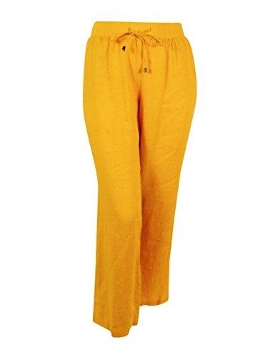 [Style & Co. Women's 100% Linen Relaxed Wide Leg Pants (18, Honey Glaze)] (Flat Front Wide Leg Pants)