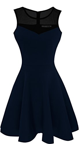 College Black Classic Short - Sylvestidoso Women's A-Line Sleeveless Pleated Little Dark Navy Blue Cocktail Party Dress with Black Mesh (M, Navy)