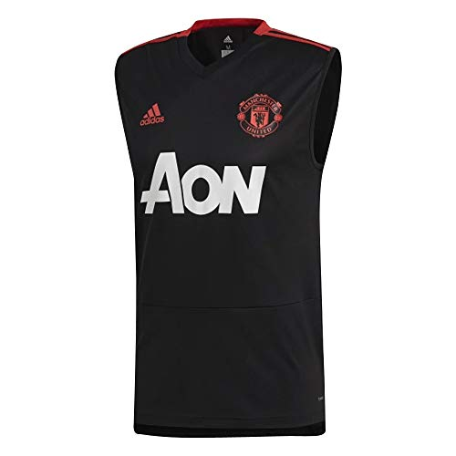 adidas 2018-2019 Man Utd Sleeveless Training Football Soccer T-Shirt Jersey (Black)