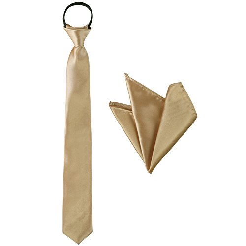 (Zipper Necktie and Pocket Squares Set - of Solid Color for Kids Boys for Party (Champagne))