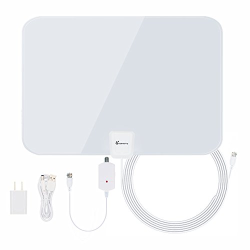TV Antenna, Vansky Indoor Amplified HDTV Antenna 50 Mile Range with Detachable Amplifier Signal Booster, USB PowerSupply and 16.5FT High Performance Coax Cable - Upgraded Version Better Reception