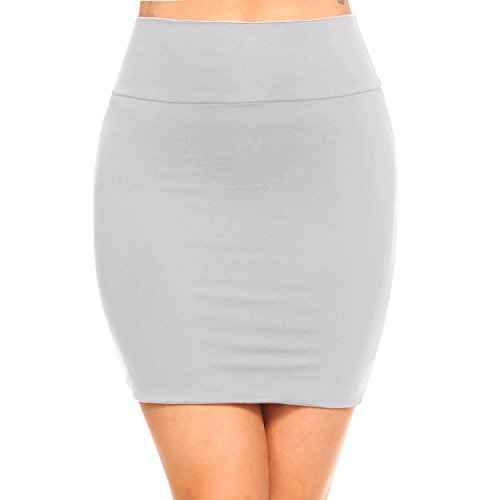 Sexy Legs Mini Skirts - Fashionazzle Women's Casual Stretchy Bodycon Pencil Mini Skirt (Large, KS06-LT Grey/Spandex)