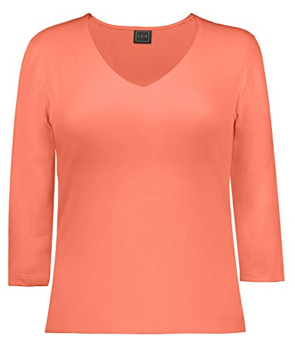 - LBH Women's 3/4 Sleeve V-Neck Top L FSN-Fusion Coral