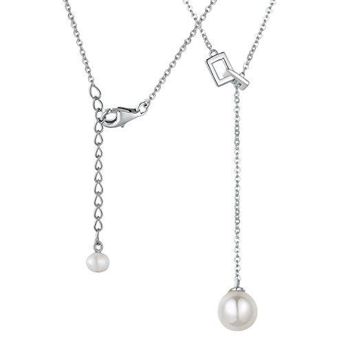 Argent sterling 925avec perles d'eau douce Y-shape Pendentif Collier (40cm/40,6cm) Femme Bijoux Cadeau pour la Saint Valentin