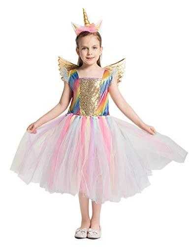 Angelaicos Girls Unicorn Costume Birthday Party Tutu Princess Dress Fairy Outfit (120)]()