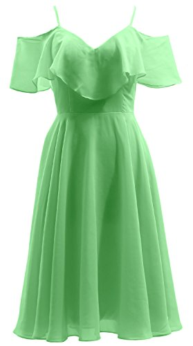 Party Dress Neck Minze Wedding Formal Gown Short Ruffled MACloth Chiffon V Bidesmaid PYx6nI8q7