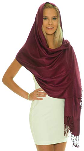 (Pashmina Shawls and Wraps - Large Scarfs for Women - Party Bridal Long Fashion Shawl Wrap with Fringe by Petal Rose Maroon)