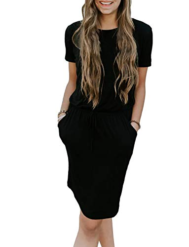 (Chunoy Women's Summer Solid Spaghetti Strap Belt Pencil Midi Dress with Pockets Black XX-Large)