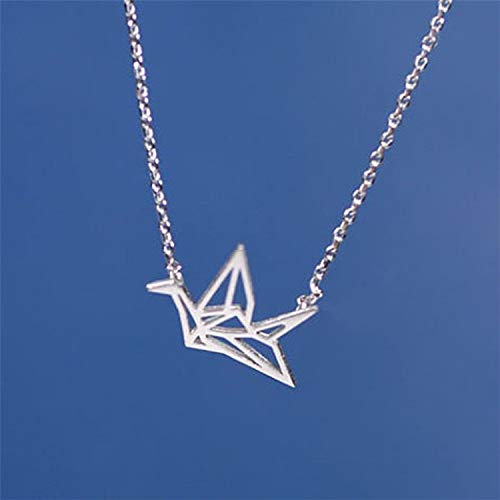 Dalino Novelties Things Vintage Thousands of Paper Crane Pendant Silver Necklace Origami Necklace Animal Clavicle Chain