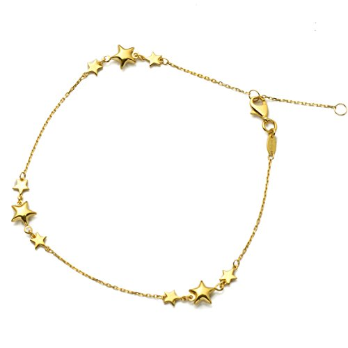 MR. BLING 10K Yellow Gold .5mm D/C Rolo Chain w/Tri-Star Row Charm Anklet Adjustable 9