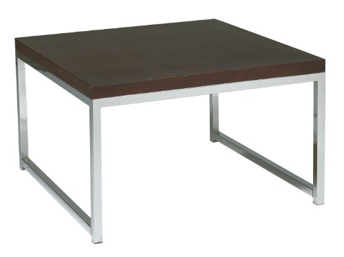 AVE SIX Wall Street Accent/Corner Table with Chrome Base, Espresso