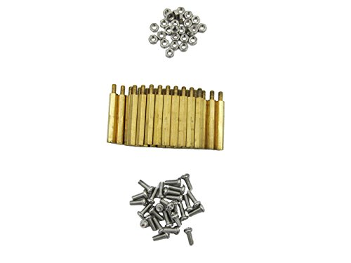 HVAZI M3 30mm+6mm Brass Spacer Standoff/Stainless Steel Screws/Nut for mounting between PCB circuit boards and machine boards, Male-Female (120 PCS)