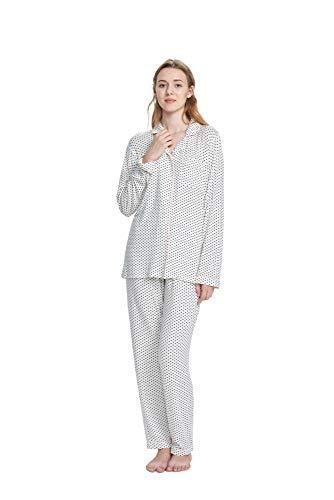 SIORO Pajamas for Women Knit Pajama Set Soft Cotton Sleepwear Set Plus Size Ladies Pajamas Loungewear 2 Piece Lightweight Nightgown, White with Black Dots, XL ()
