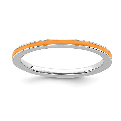 925 Sterling Silver Orange Enameled 1.5mm Band Ring Size 9.00 Stackable Ed Fine Jewelry Gifts For Women For Her from ICE CARATS