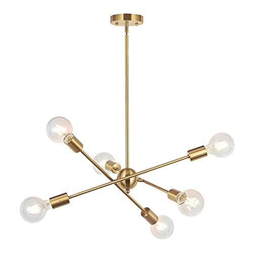 Modern Sputnik Chandelier Lighting 6 Lights Brushed Brass Chandelier Mid Century Pendant Lighting Gold Ceiling Light Fixture for Hallway Bar Kitchen Dining Room