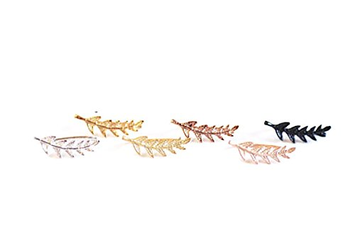 Leaf-Crawler-Cuff-Earrings-Olive-Leaf-925-Sterling-Silver-with-18K-Gold-Plating