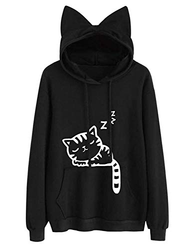 Lziizl Women Girl Black Hoodies Long Sleeve Cute Cat Ear Pullover Sweatshirt