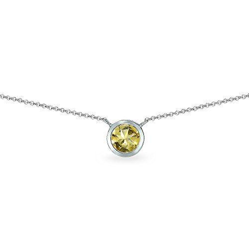 Sterling Silver Citrine 6mm Round Bezel-Set Dainty Choker Necklace (Citrine Bezel Necklace)