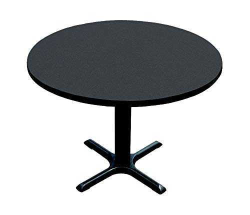 Correll BXT42R-07 Black Granite Top and Black Base Round Bar, Café and Break Room Table, (Large Black Granite Top)
