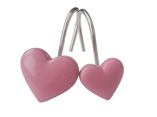 Home Fashion Pink heart-shaped Anti Rust Shower Curtain Hooks Decorative Resin Shower Curtain Rings Set of 12 …