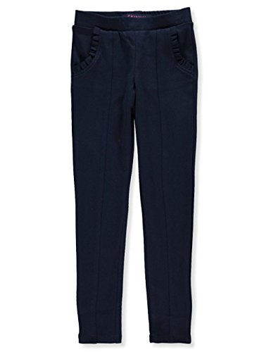 French Toast School Uniform Girls Ruffle Knit Pull-on Pants, Navy, Small (6/6X) by French Toast