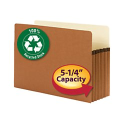 Smead 100% Recycled File Pocket, Straight-Cut Tab, 5-1/4