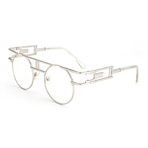 ROYAL GIRL Gothic Steampunk Sunglasses Women Men Round Classic Retro Glasses Silver Metal Frame Clear Lens