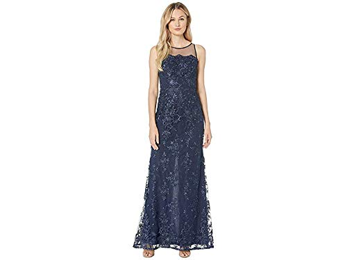 Adrianna Papell Women's Halter Corded Lace Dress Midnight 8