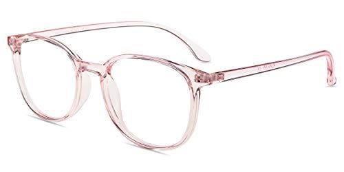 Firmoo Classic Square Blue light Blocking Computer/TV Reading Glasses,Glare Free Readers,Lightweight Plastic Frame Unisex Women/Men(Pink Frame)