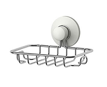 IKEA IMMELN Soap dish, Super Powerful Vacuum Suction Soap Dish - sturdy stainless steel sponge holder bathroom and kitchen (Steel, zinc plated) ()