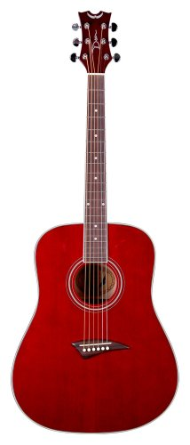 Dean Tradition Acoustic Guitar, Trans Red with Hardshell Case