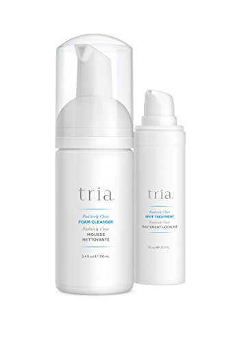 Tria Beauty Positively Clear Acne Treatment Skincare Duo - Includes Foam Cleanser & Spot Treatment