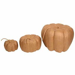 Factory Direct Craft Set of 3 Nesting Multi Size Unfinished Paper Mache Pumpkins