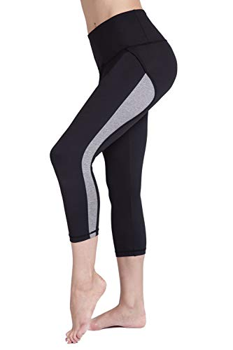 - UURUN Women's Capri Workout Leggings with Pockets High Waisted Tummy Control Yoga Pants Non See Through Compression Running Capris for Fitness Gym Athletic Black L