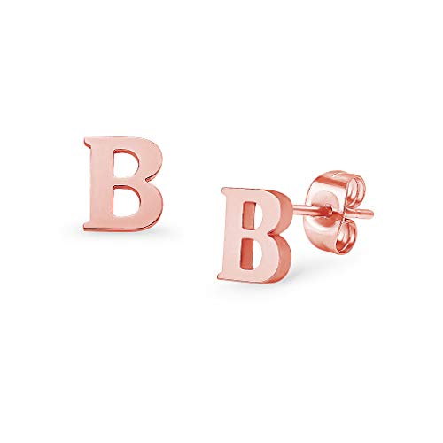 Alphabet Initial Letter Tiny Earring Studs Stainless Steel Rose Gold Tone Letters B