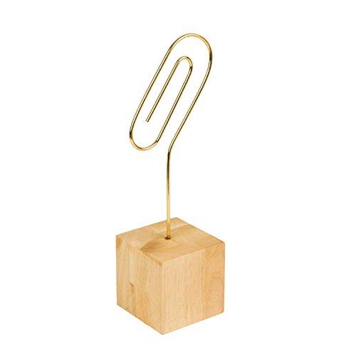 Eccolo Desktop Photo Clip with Light Wood Block Base, Paperclip