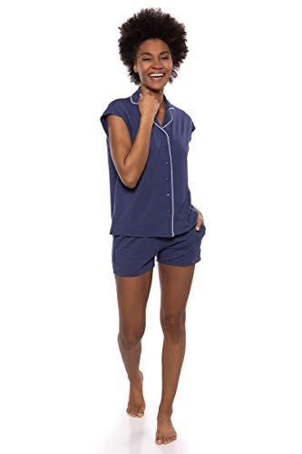- Texere Women's Jersey Shorts PJ Set (Civita, Gulf Blue, S) Cozy Versatile PJ Set