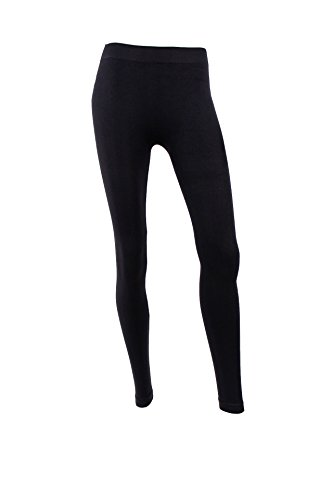 Mopas Women's Full Length Leggings Solid Basic Spandex Tights Stretch Pants-One Size-Black