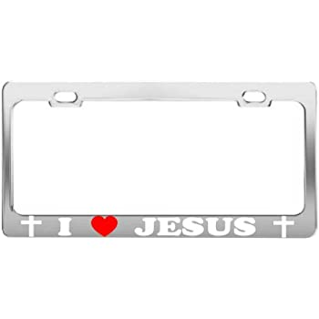 REAL MEN LOVE JESUS white License Plate Frame